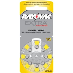 Rayovac Extra Advanced ZM Batteries, size 10 (10 cards of 8 batt)