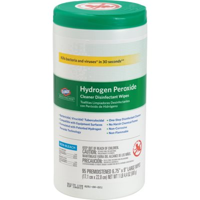 "UNAVAILABLE - Clorox Healthcare Hydrogen Peroxide Disinfectant Wipes - 6.75""x 9"" (95 / canister)"