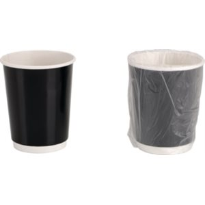 Cafe Valet 10oz Cup - Individually Wrapped, Double Walled Paper (Black Color)
