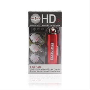 EarPeace HD Earplugs - Red (pair w / red carrying case & back-up ear plug)