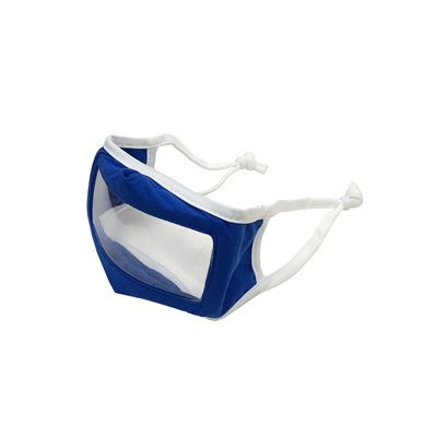 ** Children's Smile Mask Reusable Cloth Mask w /  Transparent Panel - Blue (each)