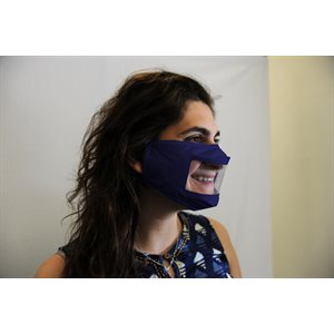 ** Smile Mask Reusable Cloth Mask with Transparent Panel - Navy Blue (each)