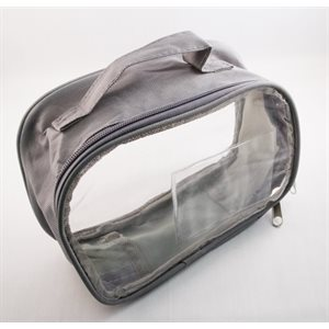 Hearing Aid Care Zipper Bag - Gray Color with Clear Plastic Top