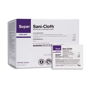 ** Super Sani-Cloth Disinfectant Wipe Singles (50 / box)