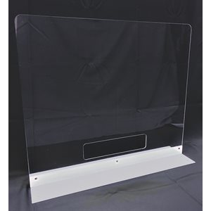 "** Countertop Shield - 32"" Clear Acrylic with Double Side Base & Pass Thru"