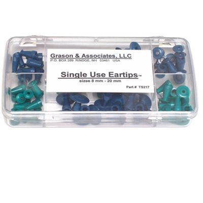 Grason Flat Style Eartip Kit in Plastic Box - 70 / kit (10 of each size eartip)