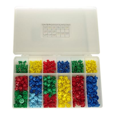 Grason IA Series Eartip Kit in Plastic Box - 375 / kit (25 of each size eartip)