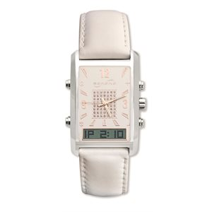 Serene VibraQuartz Vibrating Alarm Dress Watch for Women (White Band)
